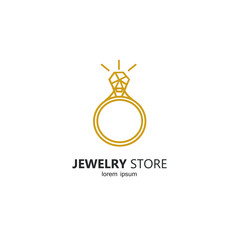 Line style logotype template with diamond ring.