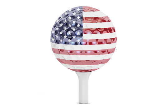 golf ball on a tee with flag of USA, 3D rendering