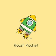 Doodle style icon rocket or spaceship vector illustration.