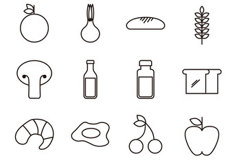 Food Silhouette Icon Set