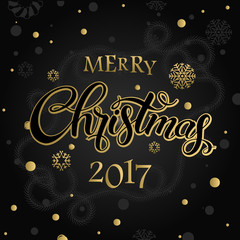 Merry Christmas and happy new year 2017. Vector lettering on black background whit snowflake and gold dots on poster. Isolate font golden decor.