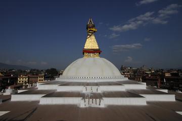 Slightly damaged Boudhanath stupa in Kathmandu after the earthquake