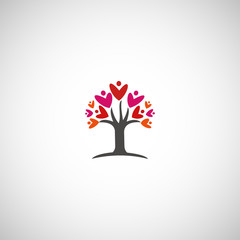 Love tree. Vector illustration.