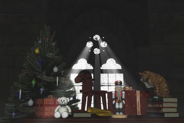 Christmas tree and vintage toys