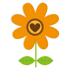 flower with heart icon image vector illustration design