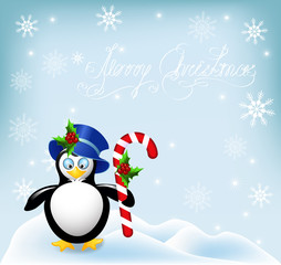 Penguin with Christmas striped comfit