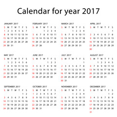 Simple 2017 Calendar - week starts with Sunday, isolated on white background, vector illustration.
