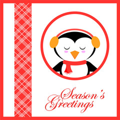 Christmas illustration with cute penguin listen music on red frame suitable for Xmas greeting card, postcard and season greeting