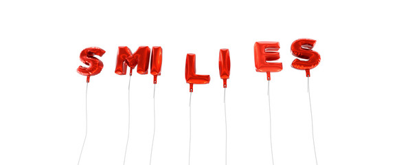 SMILIES - word made from red foil balloons - 3D rendered.  Can be used for an online banner ad or a print postcard.