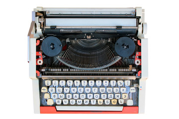 Old typewriter with russian keyboard, isolated on white
