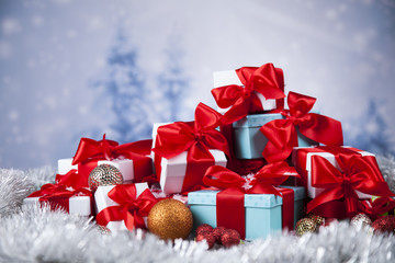 Set of gift box, Christmas background