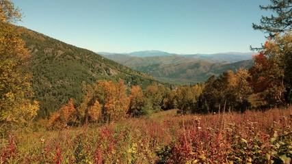 """Altai, the mountain lift """"Gorky protein"""". Early autumn."""