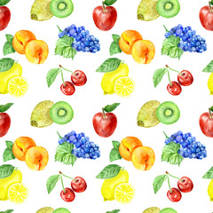 Watercolor fruits;pattern, healthy food; diet products.pattern