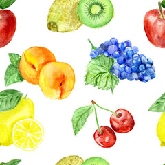 pattern.Watercolor fruits;pattern, healthy food; diet products.
