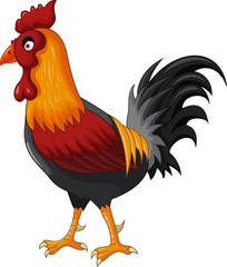 Happy cartoon rooster for you design