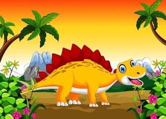 Photo sur Plexiglas Dinosaurs Cute dinosaur cartoon in the jungle