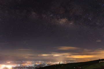 mountain landscape milky way in thailand at Phu Thap Boek