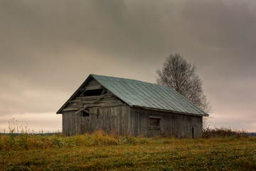 Abandoned Barn House On The Autumn Fields