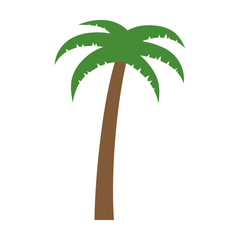 Palm tree or coconut tree flat color icon for vacation apps and websites