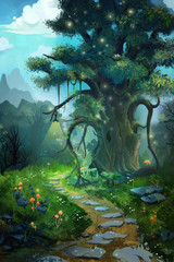 The Tree in the Evening. Video Game's Digital CG Artwork, Concept Illustration, Realistic Cartoon Style Background