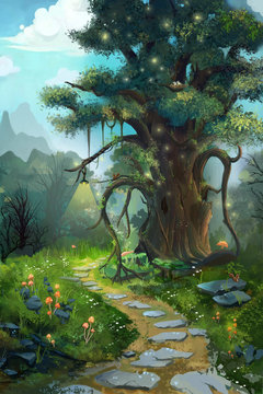 The Tree in the Morning. Video Game's Digital CG Artwork, Concept Illustration, Realistic Cartoon Style Background