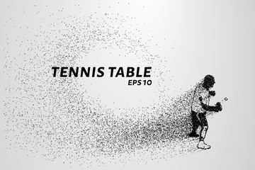 Table tennis from the particles. Tennis consists of circles and points. Vector illustration