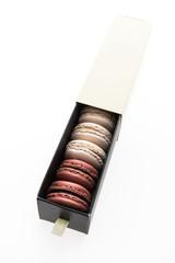 Macaroons box isolated on white background