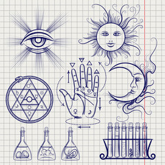 Sketch of isoteric signs, philosophy and alchemy elements on notebook page. Vector illustration