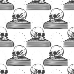 Hand drawn book and human skull seamless pattern. Vector illustration