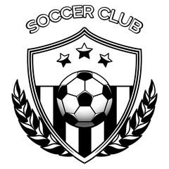 Black and white footbal emblem vector illustration. Soccer club logo isolated on white