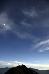 赤岳山頂とオリオン座