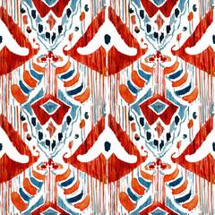 Ikat seamless bohemian ethnic pattern in watercolour style.