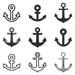 Anchor icon set.