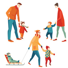 set of vector illustrations of parents and children for a walk in the winter , cartoon style