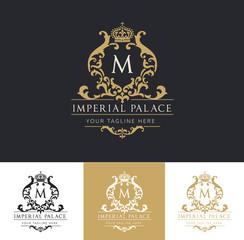 Hotel logo, Imperial palace logo, royal brand logo, luxury logo template.