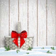 White basket with red ribbon, christmas motive, illustration