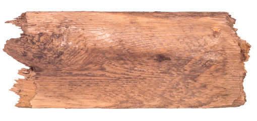 Old wooden board isolated on a white background. Wall mural
