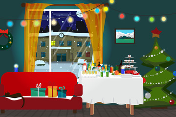 Christmas room interior. Christmas tree, buffet table, gift and