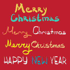 Merry christmas and happy new year lettering design set. Flat ca