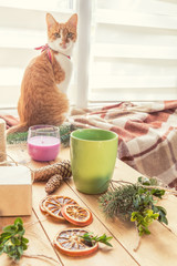 Hot chocolate and wrapping eco Christmas gifts brown paper, string and natural branches and decor elements on wooden table at home