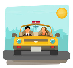 Flat design concept of driving school with car,
