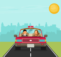 Flat design concept of driving school with car