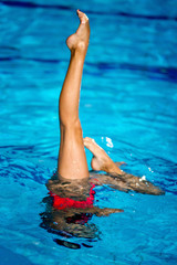 Synchronized Swimmer. Performance in the pool