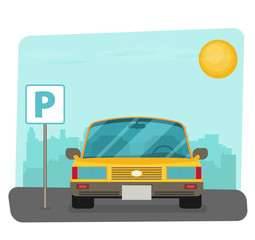 Parking lot vector illustration, flat parking lot sign