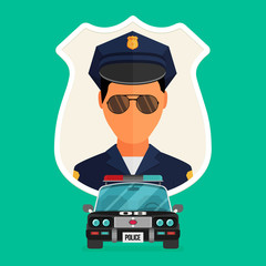 Police officer with car avatar illustration. Trendy policeman