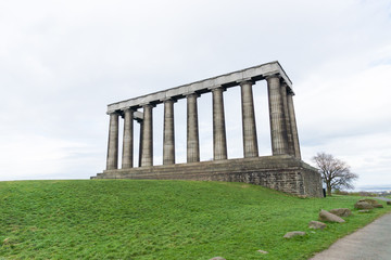 The unfinished National Monument, built to commemorate the soldiers of the Napoleonic Wars on Calton Hill, Edinburgh, Scotland, UK