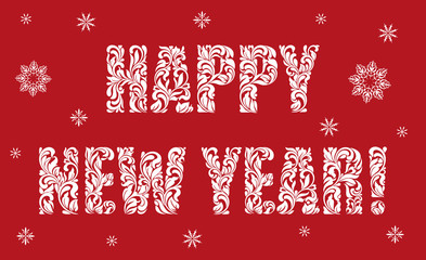 Greeting card or poster Happy New Year. Text made of floral elements.