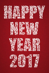 Greeting card or poster Happy New Year 2017. Text made of floral elements. Background with vintage pattern.