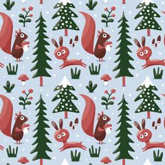 Seamless cute winter pattern made with squirrel, rabbit, mushroom, bushes, plants, snow, tree