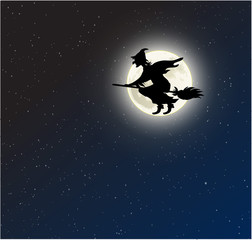 Witch on a broomstick full moon vector